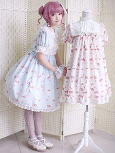 ブルー プリント ・ ロリータ ドレスをフリル スリム フィット ドレス