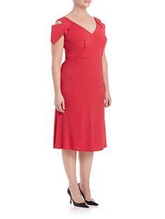 ABS, Plus Size - Cold-Shoulder Midi Dress