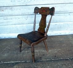 1845 Miniature Chair Original Paint Decoration - Signed & Dated