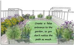 Ugly paths can be 'hidden' by making a false entrance to the garden. If there is something pretty and lovely to look at, you won't notice the paths so much! Garden S, Garden Paths, Path Design, Low Maintenance Garden, Small Garden Design, Back Gardens, Amazing Gardens, Book Design, Landscape