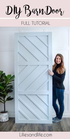 DIY Barn Door Tutorial - DIY Barn Door full, simple tutorial using plywood, maple wood pieces and liquid nails from Lowe's - Diy Design, Interior Design, Modern Design, Porte Diy, Diy Home Decor For Apartments, Barn Door Designs, Farmhouse Side Table, Diy Décoration, Easy Diy
