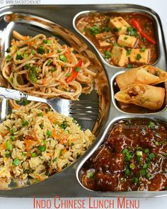 Spring roll, noodles, fried rice, veg manchurian gravy, chilli paneer gravy - learn how to plan and make this lunch menu (Indo chinese thali) lunch recipes Indo Chinese Recipes, North Indian Recipes, South Indian Food, Indian Food Recipes, Chinese Menu, Chinese Food, Lunch Box Recipes, Veg Recipes, Vegetarian Recipes