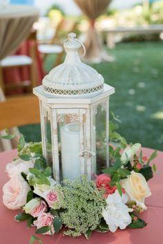 White Lantern Floral Centerpiece | Caroline and Evan Photography