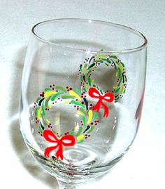 Christmas Wreath Wine Glass Hand Painted by ConniesCreations2010, $10.00