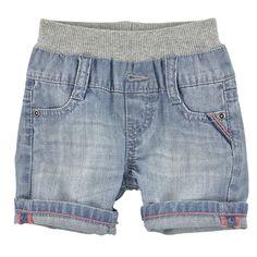 Stretch denim shorts - Stone-washed blue