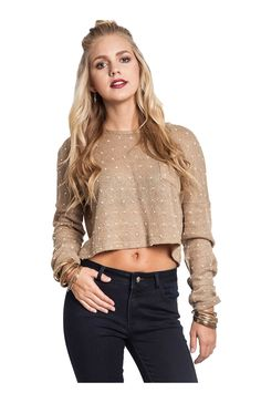 Long Sleeve Crew Neck Cropped Sweater