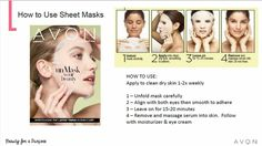 UN-MASK BEAUTIFUL SKIN Inspired by ancient Asian beauty rituals, Avon introduces two new sheet masks in Campaign 7: the Anew Firming Sheet Mask with Royal Jelly Essence for skin that looks firmer, toned and lifted. And, the Anew Brightening Sheet Mask with White Pearl Essence for a radiant, refreshed and hydrated glow.   Shop my estore: www.youravon.com/dtobias or please feel free to contact me with questions or you need a brochure delivered to you. Thank you