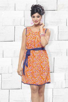 Orange Cotton Silk Designer Party Wear Kurti