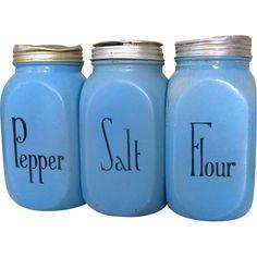 McKee Blue Salt & Pepper & Flour Range Shakers, Vintage~~