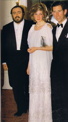 Diana with Pavarotti.   I find it hilarious that whoever wrote that failed to mention the future King of England!