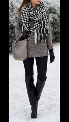 Stitch Fix Fall Fashion - Grey sweater, houndstooth scarf, black skinnies and black over the knee boots. Fashion trends to your doorstep by your own personal stylist.