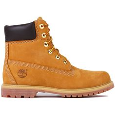 Timberland Women's 6-Inch Premium Waterproof Boots - Wheat Nubuck ($160) ❤ liked on Polyvore featuring shoes, boots, ankle booties, timberlands, ankle boots, wheat nubuck, lug sole booties, low heel booties, waterproof booties and bootie boots