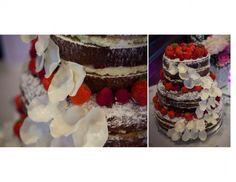 Naked wedding cake, chocolate and strawberries