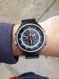 Clean Vintage OMEGA Flightmaster Pilot's Chronograph In Stainless Steel Circa 1970s