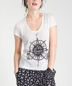 Look at this Jawbreaking White Wanderer Scoop Neck Tee on #zulily today!