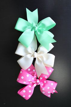 Pick 10 Large Hair Bows - Girl / Shower / Gift / Uniform / Toddler / Baby Hair Bows. $22.00, via Etsy.