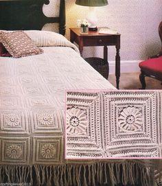 VINTAGE BUCILLAS COLONIAL ROSETTE BEDSPREAD SINGLE D/BED SQUARES CROCHET PATTERN