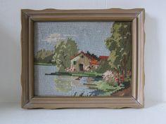 Vintage Handmade Needlepoint Wall Hanging by SmythandMelville, $22.00