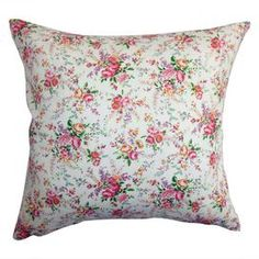 Cotton and down-blend pillow with a floral rose motif.    Product: PillowConstruction Material: Cotton cover and down fillColor: RoseFeatures:  Insert includedHidden zipper closureMade in the USA Dimensions: 18 x 18Cleaning and Care: Spot clean