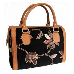 Batik & Leather Bag - Executive Bag - Black Laukku