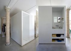 :: Havens South Designs :: loves this creative free standing cube bathroom solution in an open space