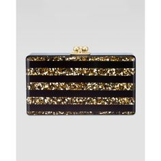 Edie Parker Jean Confetti Striped Acrylic Clutch Bag, Black/Gold by None, via Polyvore
