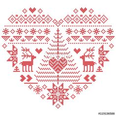 Wektor: Heart Shape Scandinavian Printed Textile  style and inspired by  Norwegian Christmas and festive winter seamless pattern in cross stitch with Christmas tree, snowflakes, reindeer,  heart