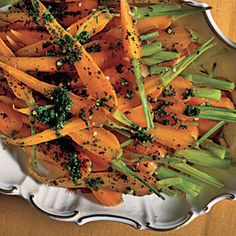 Israeli Carrots from Cooking Light - I use regular ol' carrot sticks and chop them into appropriate sizes.  This is a good recipe to make the sauce ahead, chop carrots ahead, and make when you are ready.