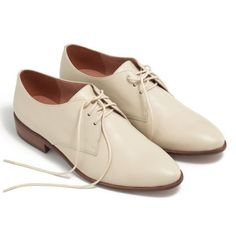"""Madewell Jess Oxford in antique cream 8 NEW A sleek slim leather Oxford that can be worn laced up or lace less. A feminine take on mensware. Leather upper and lining, 4/5"""" heel, man made sole. Brand new never worn Madewell Shoes Flats & Loafers"""