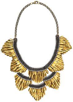 Deepa Gurnani Feather Bib Necklace - Gold   Free Shipping