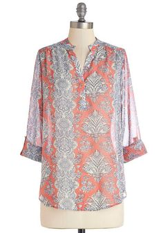 Calling from Casablanca Blouse - Woven, Mid-length, Coral, Blue, Print, Work, Beach/Resort, Boho, 3/4 Sleeve, Spring, Red, Tab Sleeve, Butto...