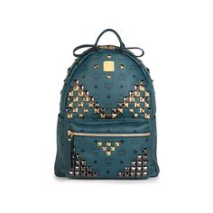 MCM Medium green studded stark backpack ($870) ❤ liked on Polyvore featuring bags, backpacks, backpack, mcm, studded bag, studded canvas backpack, green bags and canvas backpack