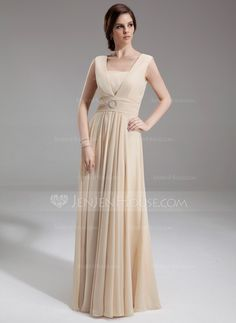 A-Line/Princess Square Neckline Floor-Length Chiffon Mother of the Bride Dress With Ruffle Beading (008005992) - JenJenHouse