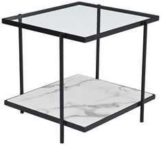 Zuo 100994 Winslett End Table White Faux Marble Black Steel Tempered Glass Unique End Tables, Black End Tables, Contemporary End Tables, Marble End Tables, Tall End Tables, Diy End Tables, End Table Sets, Wood End Tables, End Tables With Storage