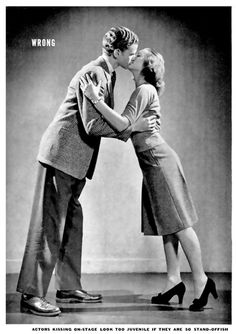 "How to kiss according to Life Magazine, 1942. This is a ""Don't."" Click to see more pictures."