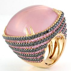 Giant Ring 18k Rose Gold-Rose Quartz, 5,69ct Black. Brillis, 4,55ct Pink Sapphires