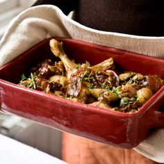 This delicious braised chicken dish, with white wine, shallots and pancetta, can be made up to a month in advance.