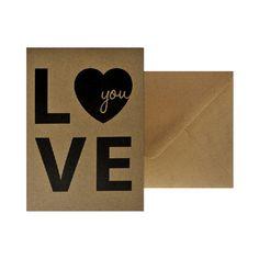 Wenskaart - Love you  #kaart #kraft #A6 #typografie #recycle #quote #grafisch #ontwerp #design #envelop #papier #bruin #karton