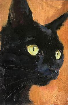 by Katya Minkina, Oil, 4 x 6 Black Cat Painting, Black Cat Art, Black Cats, Animal Paintings, Animal Drawings, Watercolor Cat, Guache, Cat Drawing, Pet Portraits