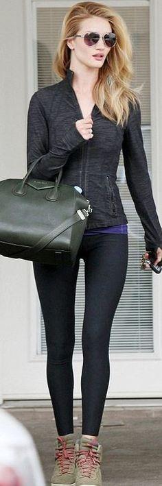 Who made  Rosie Huntington-Whiteley's gray sweatshirt, green leather handbag, and sneakers?