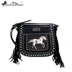 Montana West Handbag NEW Western Style  Cowgirl Purse Black  fringe  #MontanaWest #MessengerCrossBody