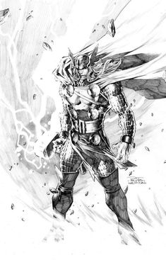 Thor by Philip Tan__God of Thunder...brought to life in an heavy pencil and ink sketch. Wonderful detail. And impressive how Tan achieves an action scene with the subject standing still.