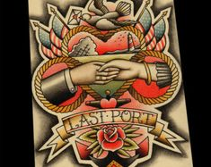 Traditional Tattoo Designs by ParlorTattooPrints on Etsy