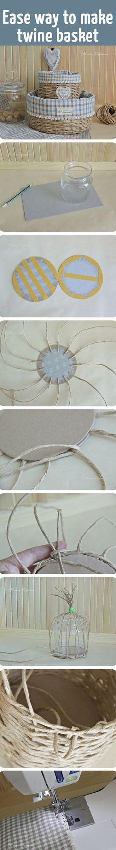 "Плетем корзинку ""Прованс"": мастерим из бумажного шпагата милый аксессуар для уютного дома / Easy way to make twine basket"