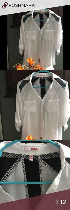 BONGO blouse White with black netting long sleeve or button up three-quarter sleeveBeautiful bright white BONGO Tops Blouses