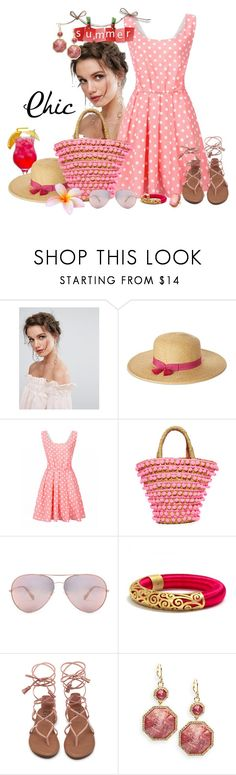 """SUMMER CHIC ... Pink Polka-Dots and Pink Pom-Poms !!"" by fashiongirl-26 ❤ liked on Polyvore featuring ALDO, Nine West, Mystique, Oliver Peoples, Louise et Cie and Elizabeth Cole"