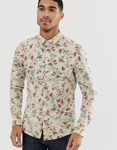 Find the best selection of ASOS DESIGN skinny fit floral shirt in ecru. Shop today with free delivery and returns (Ts&Cs apply) with ASOS! Half Shirts, Work Shirts, Printed Shirts, Men's Shirts, Dress Shirts, Floral Shirt Outfit, Short Sleeve Linen Shirt, Discount Clothing, Denim Shirt