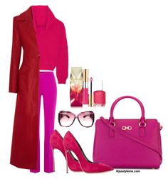 """""""Popping Pink on Sunday"""" by jusstyleme on Polyvore featuring Boutique Moschino, Tomas Maier, ADAM, Salvatore Ferragamo, Casadei, Christian Louboutin, Yves Saint Laurent, Essie and Gucci"""