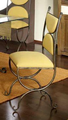 Silla mod. gales, fabricado en forja de forma artesanal, se puede cambiar el color de la forja y tapizado