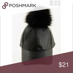 💗SUPER CUTE FAUX LEATHER/FUR POM POM BASEBALL CAP ⭐️⭐️⭐️⭐️⭐️SUPER CUTE--Ready for fun--great with a Bomber jacket or a long flowing sweater and your distressed jeans! Adjustable slide clasp for adjustable fit!👍 Accessories Hats